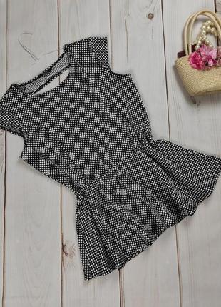 Блуза красивая в горошек с баской f&f uk 16/44/xl