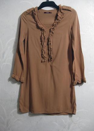 Платье zarina коричневое вискоза рюши повседневное демисезонное весеннее осеннее
