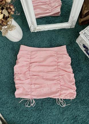 Летняя мини юбка в клетку на завязках