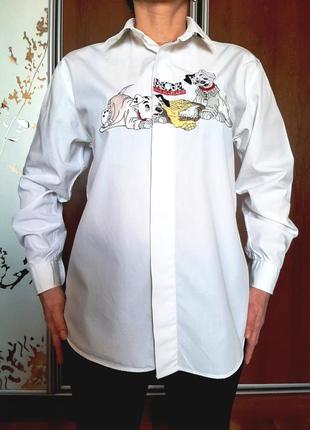 Белоснежная рубашка в мужском стиле из 100% хлопка с вышивкой из милых далматинов