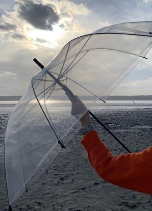 Прозрачный зонт-трость, полуавтомат с черной ручкой