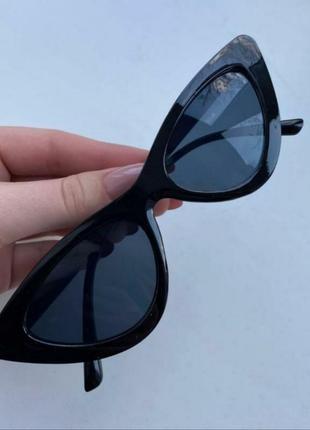 Дефект❕очки женские новые кошачий глаз солнцезащитные черные кошки