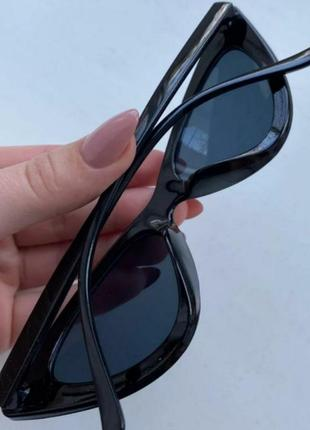 Дефект❕очки женские новые кошачий глаз солнцезащитные черные кошки2 фото