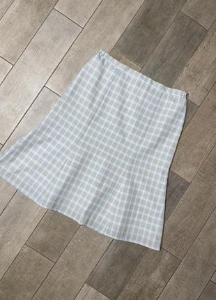 Голубая  миди юбка в клетку,большой размер,батал(3)