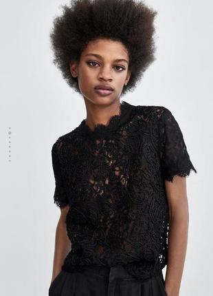 Кружевной топ,блуза zara