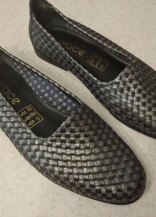 Плетеные кожаные туфли,туфлі , мокасины с плетёной кожи vivace 38-39р