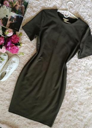 Стильное базовое платье  футболка, оливковый цвет, hm