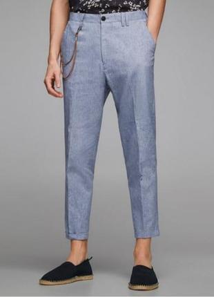 Стильные легкие  укороченные брюки. в составе лен. zara