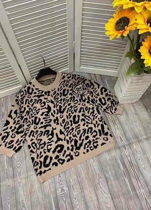 Женский свитер щвериный принт леопард