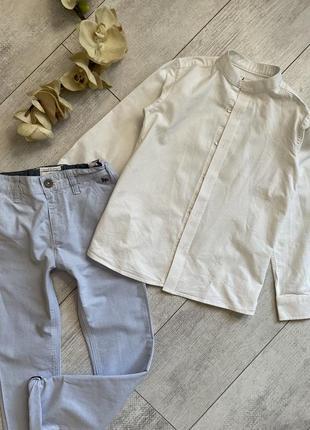 Фирменная белая рубашка 7-8 лет воротник стойка под зара