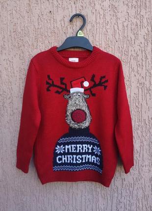 Светр новорічний на хлопчика george 3-4 років свитер новогодний