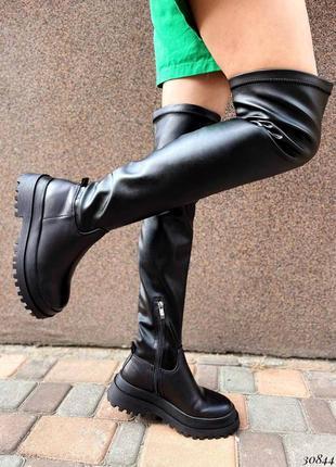 💥 шикарные кожаные сапоги чулки ботфорты