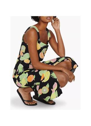 Стильное платье миди в тропический принт