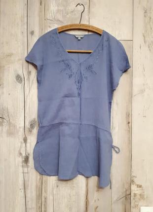 Туника голубая с вышивкой марлевка вышиванка  р м