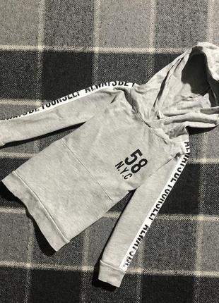 Детская кофта (худи, толстовка) с лампасами h&m ( эйч энд эм 2-4 года 92-104 см оригинал серая)