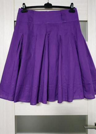 Летняя фиолетовая юбка со складками хлопок atmosphere