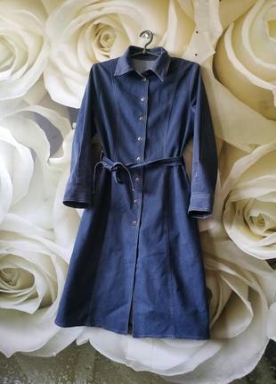 Джинсовое платье -халат платье-рубашка миди платье на пуговицах
