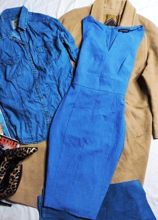 Banana republic платье голубое синее миди по фигуре карандаш футляр