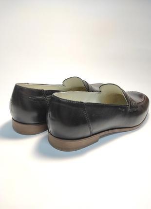 Кожаные лоферы черные туфли женские лофери туфлі3 фото
