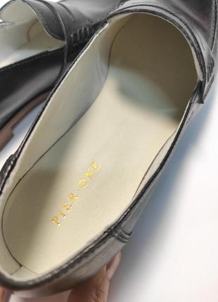 Кожаные лоферы черные туфли женские лофери туфлі6 фото