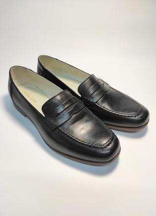 Кожаные лоферы черные туфли женские лофери туфлі2 фото