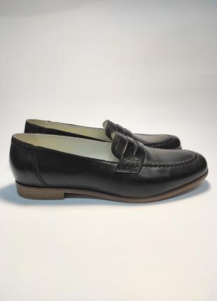 Кожаные лоферы черные туфли женские лофери туфлі