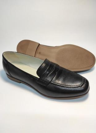 Кожаные лоферы черные туфли женские лофери туфлі4 фото