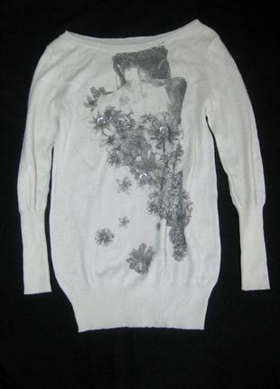 Тонкий шерстяной свитерок с акрилом италия белый принт рисунок девушка
