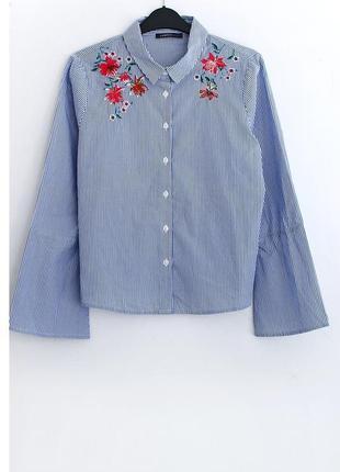 Хлопковая рубашка с вышивкой marks&spencer • р-р 10\38 (м)