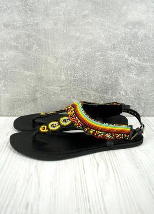 Стильные кожаные босоножки, сандали с бисером. размер eur42.