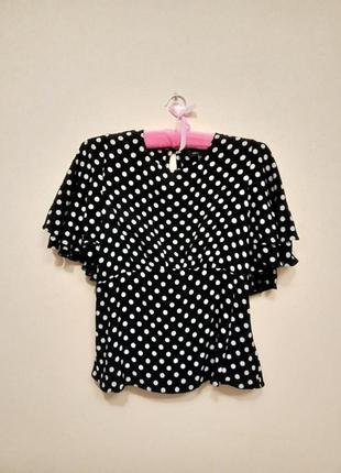 Шикарна блуза в горох з об'ємними рукавами
