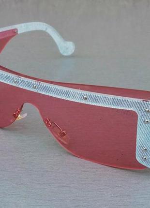 Fendi эффектные женские солнцезащитные очки маска розово голубые