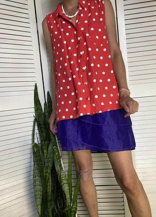 Блузочка без рукавов красного цвета в белый горошек dorothy perkins