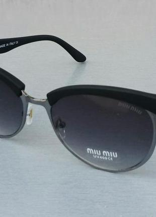 Miu miu очки женские солнцезащитные серый градиент в серебристом металле