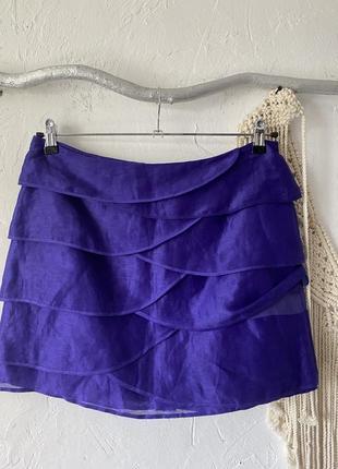Льняная мини юбка фиолетового цвета с шёлком в составе marks & spencer спідниця