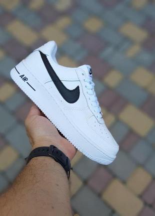Женские кроссовки nike air force 1 белые с чёрным / жіночі кросівки найк білі