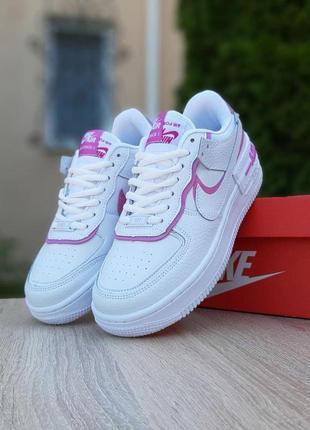 Женские кроссовки nike air force 1 shadow белые с розовым / жіночі кросівки найк білі