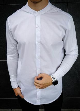 Біла сорочка з коміром стійка, рубашка с воротником стойка