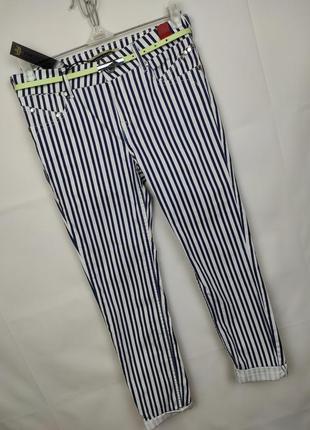 Штаны брюки стильные стрейчевые полосатые river island uk 10/38/s