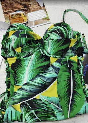 Сдельный купальник анжелика в принт банановые листья