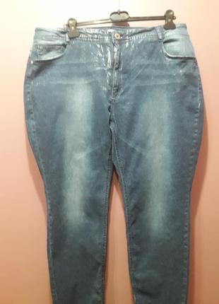 Летние джинсы-стрейч с серебристым напылением