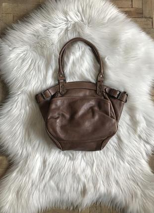 Винтажная сумка из кожи аргентинского быка prune