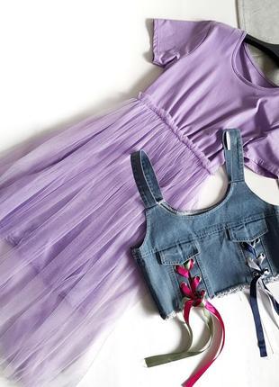 Комплект платье-футболка сиреневое с сеткой и джинсовая накидка