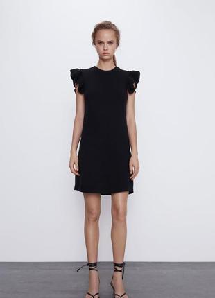 🌿 трикотажное платье zara с воланами