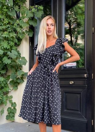 Платье летнее женское миди длинное легкое в горошек сарафан черное
