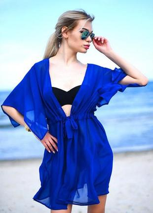Пляжная туника -халатик из шифона, разные цвета