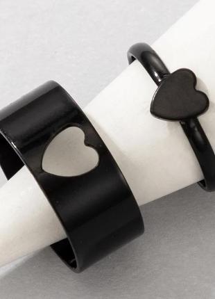 Черные парные кольца сердечки набор колец сердце