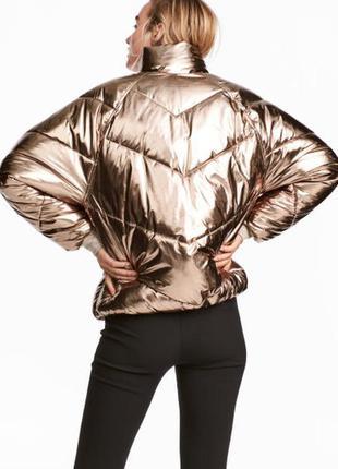 Нереально крутая куртка металлик от h&m - на с, м - самая низкая цена на золотую куртку