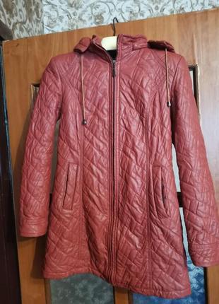 Пальто укороченое, кожзам