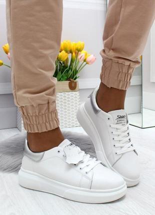 Белые кожаные кроссовки натур. кожа, кожаные кроссовки karma 36-41р код 6903